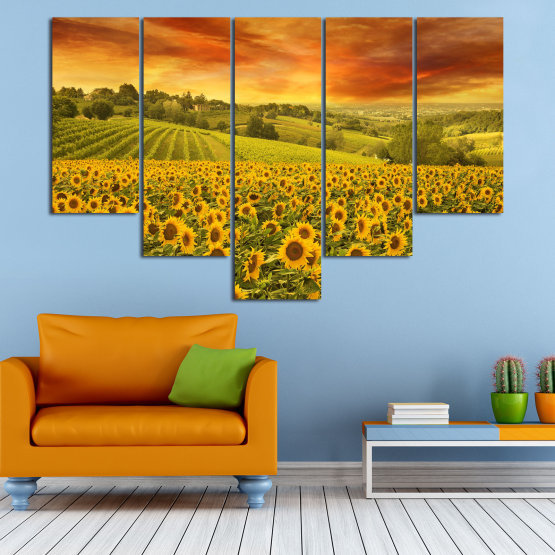 Canvas prints & wall decorative panels - 5 pieces №0856 » Green, Orange, Brown » Flower, Landscape, Spring, Sky, Summer, Sunflower, Meadow, Plant, Field, Yellow, Sunflowers, Outside Form #6