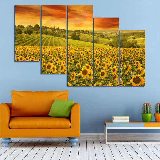 Canvas prints & wall decorative panels - 5 pieces №0856 » Green, Orange, Brown » Flower, Landscape, Spring, Sky, Summer, Sunflower, Meadow, Plant, Field, Yellow, Sunflowers, Outside Form #7