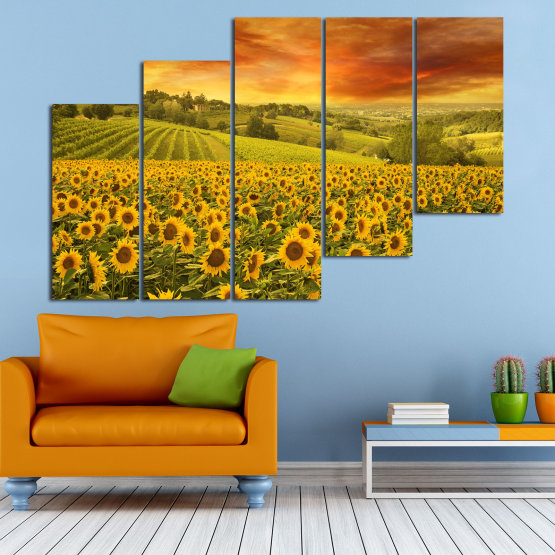 Canvas prints & wall decorative panels - 5 pieces №0856 » Green, Orange, Brown » Flower, Landscape, Spring, Sky, Summer, Sunflower, Meadow, Plant, Field, Yellow, Sunflowers, Outside Form #8