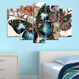 Butterfly, Spring, Art, Modern, Colorful, Graphic, Design, Fantasy » Black, Gray, White, Beige, Dark grey
