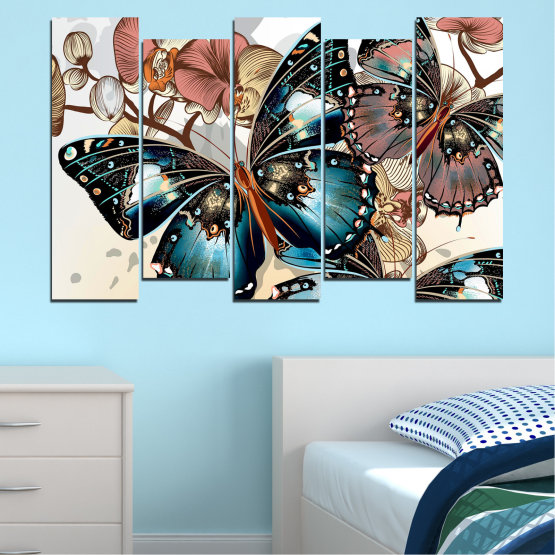Εκτύπωση σε καμβά και διακοσμητικά πάνελ τοίχου - 5 τεμάχια №0857 » Μαύρος, Γκρί, Άσπρο, Μπεζ, Σκούρο γκρι » Πεταλούδα, Τέχνη, Άνοιξη, Μοντέρνο, Γραφικός, Γραφικός, Σχέδιο, Φαντασία Form #3