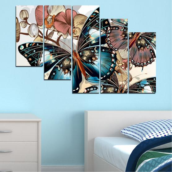 Εκτύπωση σε καμβά και διακοσμητικά πάνελ τοίχου - 5 τεμάχια №0857 » Μαύρος, Γκρί, Άσπρο, Μπεζ, Σκούρο γκρι » Πεταλούδα, Τέχνη, Άνοιξη, Μοντέρνο, Γραφικός, Γραφικός, Σχέδιο, Φαντασία Form #7