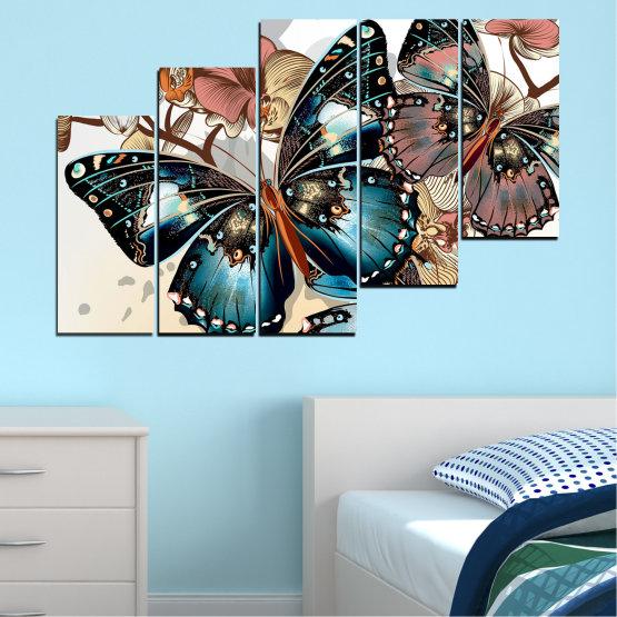 Εκτύπωση σε καμβά και διακοσμητικά πάνελ τοίχου - 5 τεμάχια №0857 » Μαύρος, Γκρί, Άσπρο, Μπεζ, Σκούρο γκρι » Πεταλούδα, Τέχνη, Άνοιξη, Μοντέρνο, Γραφικός, Γραφικός, Σχέδιο, Φαντασία Form #8