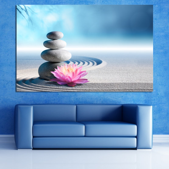 Canvas prints & wall decorative panels - 1 piece №0858 » Turquoise, Gray, White, Milky pink » Flower, Relax, Stones, Spa, Relaxation, Stone, Rock, Balance, Health, Peace, Harmony, Spirituality, Spiritual, Meditation, Perfection, Pebbles, Mineral, Therapy, Massage, Pebble Form #1