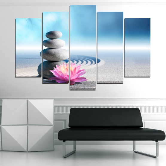 Canvas prints & wall decorative panels - 5 pieces №0858 » Turquoise, Gray, White, Milky pink » Flower, Relax, Stones, Spa, Relaxation, Stone, Rock, Balance, Health, Peace, Harmony, Spirituality, Spiritual, Meditation, Perfection, Pebbles, Mineral, Pebble, Therapy, Massage Form #1