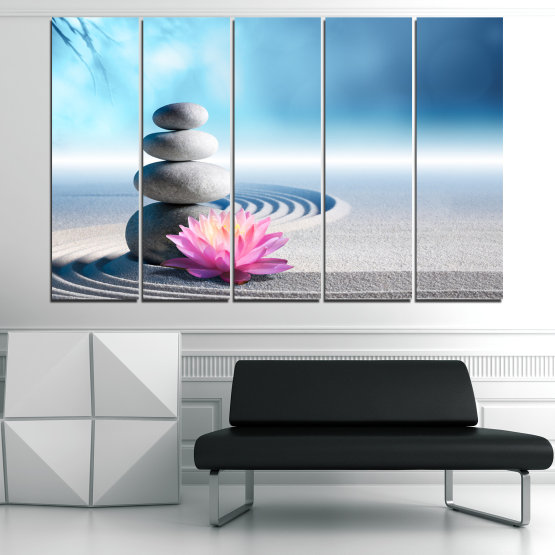 Canvas prints & wall decorative panels - 5 pieces №0858 » Turquoise, Gray, White, Milky pink » Flower, Relax, Stones, Spa, Relaxation, Stone, Rock, Balance, Health, Peace, Harmony, Spirituality, Spiritual, Meditation, Perfection, Pebbles, Mineral, Pebble, Therapy, Massage Form #2