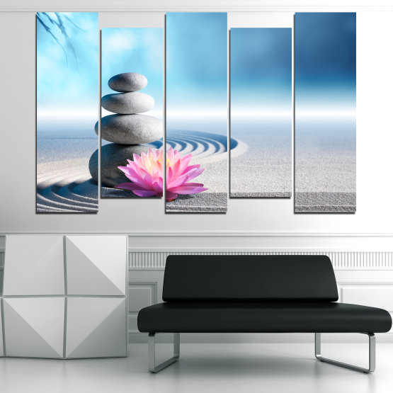 Canvas prints & wall decorative panels - 5 pieces №0858 » Turquoise, Gray, White, Milky pink » Flower, Relax, Stones, Spa, Relaxation, Stone, Rock, Balance, Health, Peace, Harmony, Spirituality, Spiritual, Meditation, Perfection, Pebbles, Mineral, Pebble, Therapy, Massage Form #3