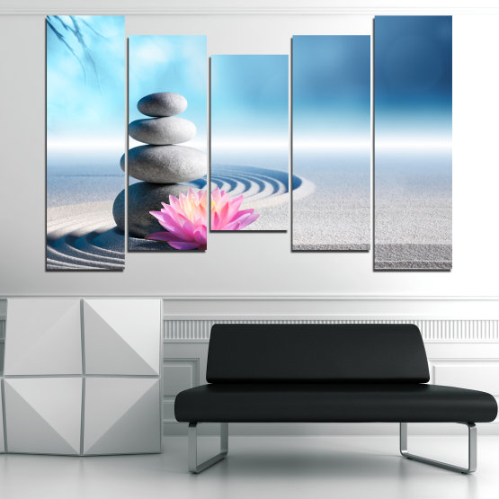 Canvas prints & wall decorative panels - 5 pieces №0858 » Turquoise, Gray, White, Milky pink » Flower, Relax, Stones, Spa, Relaxation, Stone, Rock, Balance, Health, Peace, Harmony, Spirituality, Spiritual, Meditation, Perfection, Pebbles, Mineral, Pebble, Therapy, Massage Form #4
