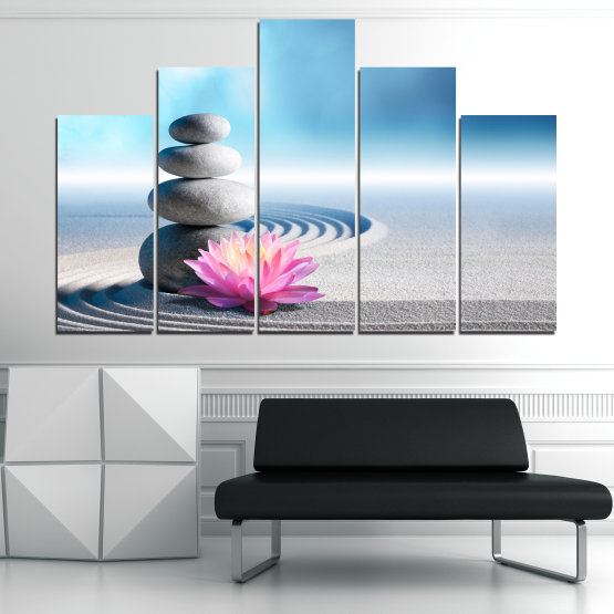 Canvas prints & wall decorative panels - 5 pieces №0858 » Turquoise, Gray, White, Milky pink » Flower, Relax, Stones, Spa, Relaxation, Stone, Rock, Balance, Health, Peace, Harmony, Spirituality, Spiritual, Meditation, Perfection, Pebbles, Mineral, Pebble, Therapy, Massage Form #5