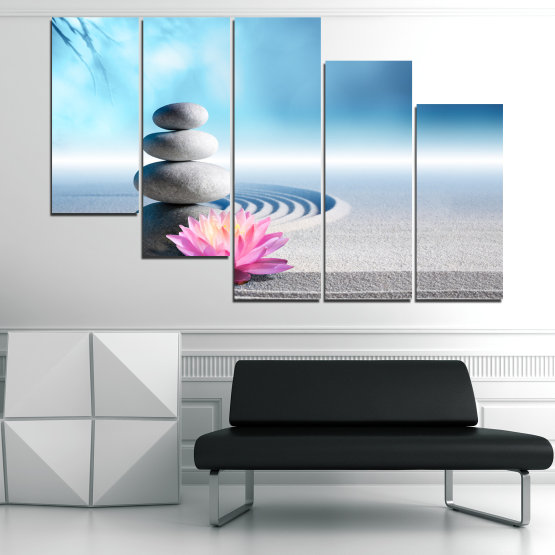 Canvas prints & wall decorative panels - 5 pieces №0858 » Turquoise, Gray, White, Milky pink » Flower, Relax, Stones, Spa, Relaxation, Stone, Rock, Balance, Health, Peace, Harmony, Spirituality, Spiritual, Meditation, Perfection, Pebbles, Mineral, Pebble, Therapy, Massage Form #7