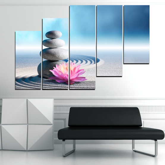 Canvas prints & wall decorative panels - 5 pieces №0858 » Turquoise, Gray, White, Milky pink » Flower, Relax, Stones, Spa, Relaxation, Stone, Rock, Balance, Health, Peace, Harmony, Spirituality, Spiritual, Meditation, Perfection, Pebbles, Mineral, Pebble, Therapy, Massage Form #8