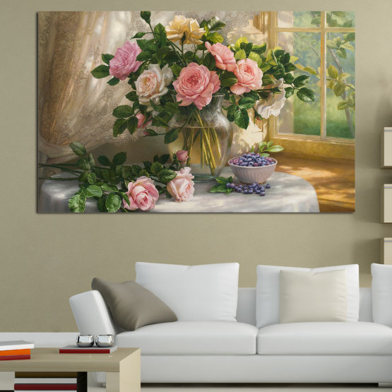 Εκτύπωση σε καμβά και διακοσμητικά πάνελ τοίχου - 1 τεμάχιο №0859 » Πράσινος, Καστανός, Γκρί, Μπεζ, Γαλακτώδες ροζ, Σκούρο γκρι » Λουλούδια, Λουλούδι, Χλωρίδα, Διακόσμηση, Άνοιξη, Καλοκαίρι, Μπουκέτο, Ρύθμιση λουλουδιών, Γραφικός, Φυσικός, Άνθος, Ζωη, Ανθίζω, Βάζο, Άνθινος, Φυτά, Σπίτι Form #1
