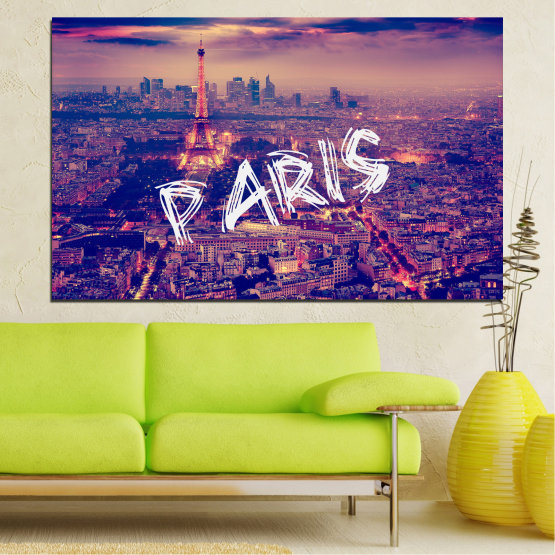 Canvas prints & wall decorative panels - 1 piece №0860 » Purple, Blue, Gray, Dark grey » City, Modern, Sky, Night, Paris, Architecture, Cityscape, Building, Travel, Tower, Culture, Skyline, Urban Form #1