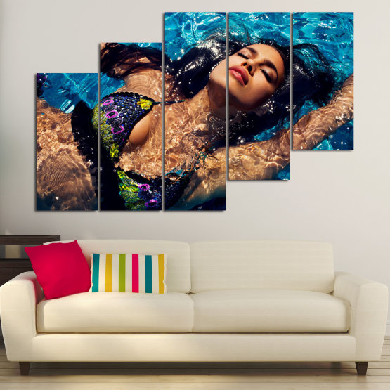 Canvas prints & wall decorative panels - 5 pieces №0861 » Blue, Orange, Brown, Black, Dark grey » Erotic, Fashion, Sexy, Bikini, Face, Pretty, Lifestyle, Lady, Attractive, Lips, Person, Model, Elegance, Sensual, Glamor, Swimsuit Form #8