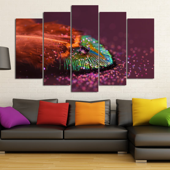 Canvas prints & wall decorative panels - 5 pieces №0862 » Red, Brown, Black, Dark grey » Abstraction, Drops, Light, Feather, Design, Fantasy, Glitter, Abstracts Form #1