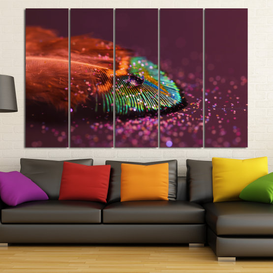 Canvas prints & wall decorative panels - 5 pieces №0862 » Red, Brown, Black, Dark grey » Abstraction, Drops, Light, Feather, Design, Fantasy, Glitter, Abstracts Form #2