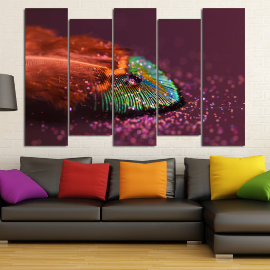 Canvas prints & wall decorative panels - 5 pieces №0862 » Red, Brown, Black, Dark grey » Abstraction, Drops, Light, Feather, Design, Fantasy, Glitter, Abstracts Form #3