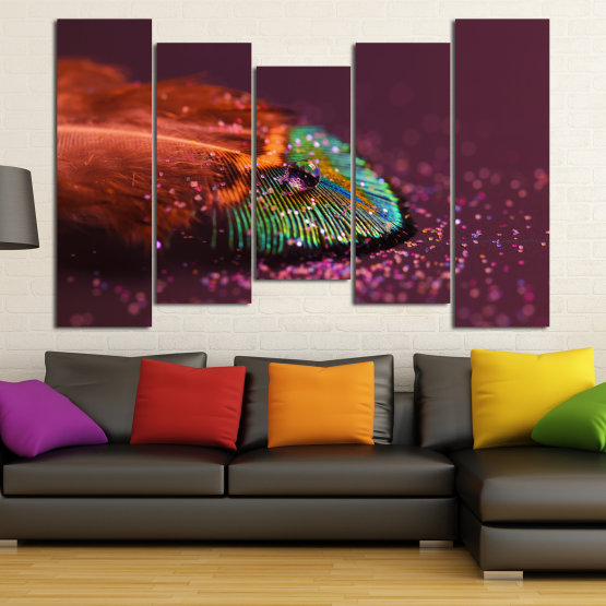Canvas prints & wall decorative panels - 5 pieces №0862 » Red, Brown, Black, Dark grey » Abstraction, Drops, Light, Feather, Design, Fantasy, Glitter, Abstracts Form #4
