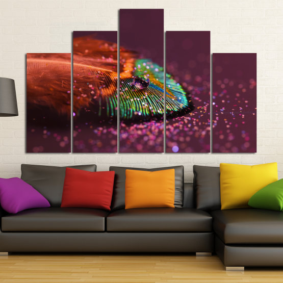 Canvas prints & wall decorative panels - 5 pieces №0862 » Red, Brown, Black, Dark grey » Abstraction, Drops, Light, Feather, Design, Fantasy, Glitter, Abstracts Form #5