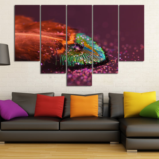 Canvas prints & wall decorative panels - 5 pieces №0862 » Red, Brown, Black, Dark grey » Abstraction, Drops, Light, Feather, Design, Fantasy, Glitter, Abstracts Form #6