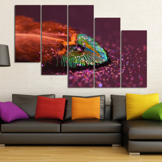 Canvas prints & wall decorative panels - 5 pieces №0862 » Red, Brown, Black, Dark grey » Abstraction, Drops, Light, Feather, Design, Fantasy, Glitter, Abstracts Form #7