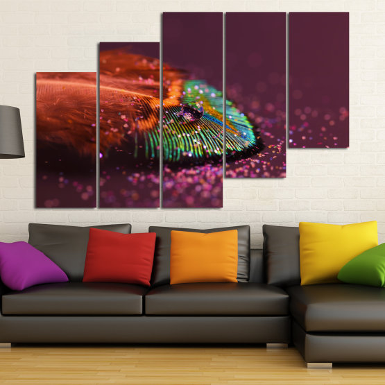 Canvas prints & wall decorative panels - 5 pieces №0862 » Red, Brown, Black, Dark grey » Abstraction, Drops, Light, Feather, Design, Fantasy, Glitter, Abstracts Form #8
