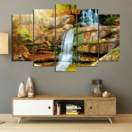 Landscape, Waterfall, Water, Forest, Mountain, Tree, River, Natural, Park, Stone, Travel, Peaceful, Falls, Environment, Stream » Brown, Black, Gray, Beige