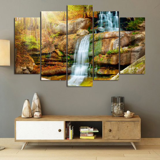 Canvas prints & wall decorative panels - 5 pieces №0863 » Brown, Black, Gray, Beige » Landscape, Water, Waterfall, Forest, Mountain, Tree, River, Natural, Park, Stone, Travel, Peaceful, Falls, Environment, Stream Form #1