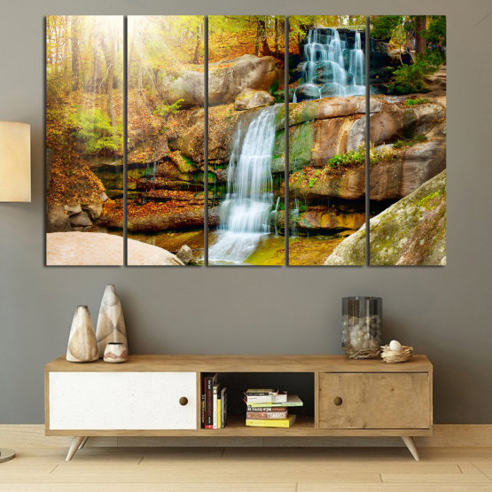 Canvas prints & wall decorative panels - 5 pieces №0863 » Brown, Black, Gray, Beige » Landscape, Water, Waterfall, Forest, Mountain, Tree, River, Natural, Park, Stone, Travel, Peaceful, Falls, Environment, Stream Form #2