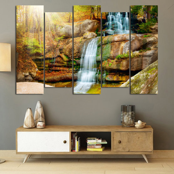 Canvas prints & wall decorative panels - 5 pieces №0863 » Brown, Black, Gray, Beige » Landscape, Water, Waterfall, Forest, Mountain, Tree, River, Natural, Park, Stone, Travel, Peaceful, Falls, Environment, Stream Form #3