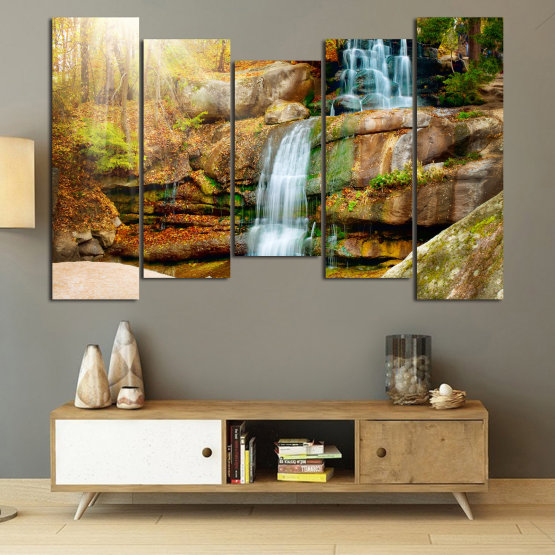 Canvas prints & wall decorative panels - 5 pieces №0863 » Brown, Black, Gray, Beige » Landscape, Water, Waterfall, Forest, Mountain, Tree, River, Natural, Park, Stone, Travel, Peaceful, Falls, Environment, Stream Form #4