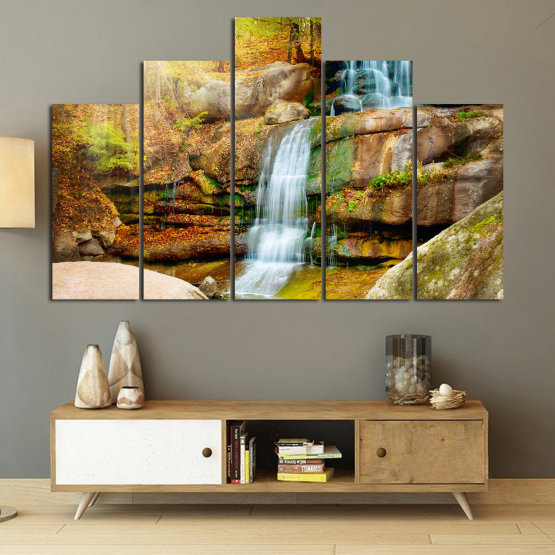 Canvas prints & wall decorative panels - 5 pieces №0863 » Brown, Black, Gray, Beige » Landscape, Water, Waterfall, Forest, Mountain, Tree, River, Natural, Park, Stone, Travel, Peaceful, Falls, Environment, Stream Form #5
