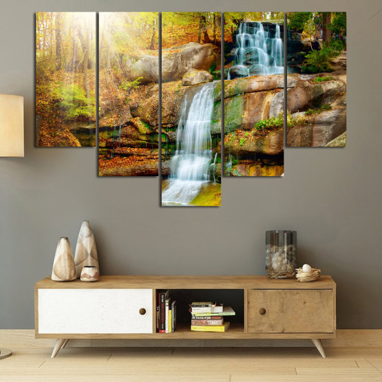 Canvas prints & wall decorative panels - 5 pieces №0863 » Brown, Black, Gray, Beige » Landscape, Water, Waterfall, Forest, Mountain, Tree, River, Natural, Park, Stone, Travel, Peaceful, Falls, Environment, Stream Form #6
