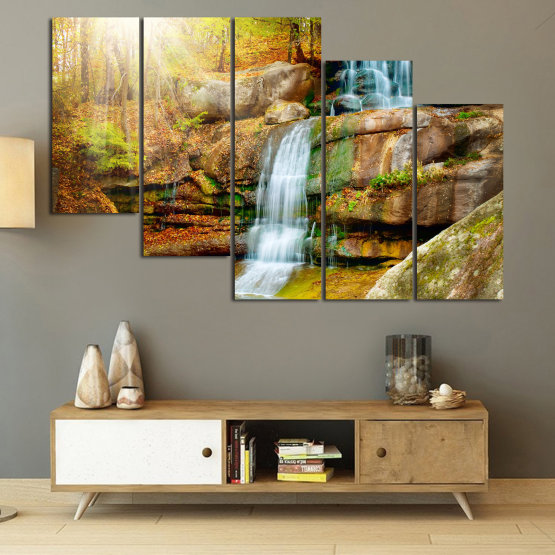 Canvas prints & wall decorative panels - 5 pieces №0863 » Brown, Black, Gray, Beige » Landscape, Water, Waterfall, Forest, Mountain, Tree, River, Natural, Park, Stone, Travel, Peaceful, Falls, Environment, Stream Form #7