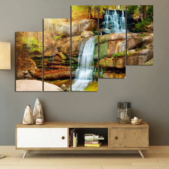 Canvas prints & wall decorative panels - 5 pieces №0863 » Brown, Black, Gray, Beige » Landscape, Water, Waterfall, Forest, Mountain, Tree, River, Natural, Park, Stone, Travel, Peaceful, Falls, Environment, Stream Form #8