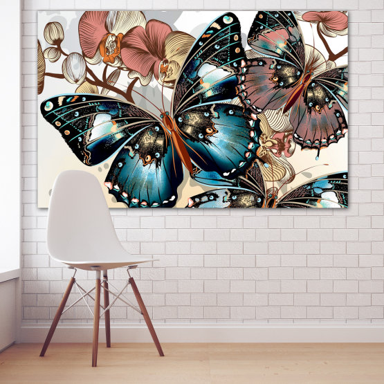 Canvas prints & wall decorative panels - 1 piece №0857 » Black, Gray, White, Beige, Dark grey » Butterfly, Spring, Art, Modern, Colorful, Graphic, Design, Fantasy Form #1