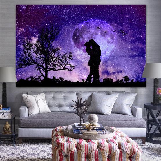 Canvas prints & wall decorative panels - 1 piece №0864 » Purple, Blue, Black, Gray, Dark grey » Art, Space, Moon, Night, Light, Planet, Color, World, Fantasy, Energy, Stars, Magic, Cosmos, Planets Form #1
