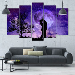 Art, Space, Moon, Night, Light, Planet, Color, World, Fantasy, Energy, Stars, Magic, Cosmos, Planets » Purple, Blue, Black, Gray, Dark grey