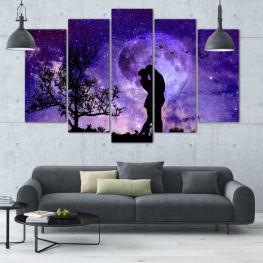 Изкуство, Космос, Луна, Нощ, Светлина, Планета, Цвят, Свят, Фантазия, Енергия, Звезди, Магия, Космос, Планети » Лилав, Син, Черен, Сив, Тъмно сив