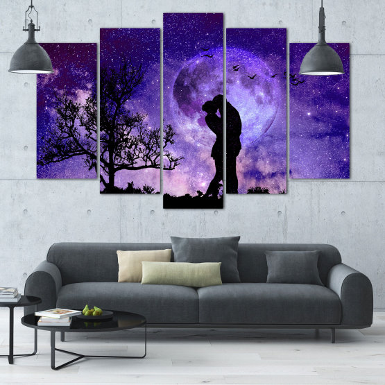 Canvas prints & wall decorative panels - 5 pieces №0864 » Purple, Blue, Black, Gray, Dark grey » Art, Space, Moon, Night, Light, Planet, Color, World, Fantasy, Energy, Stars, Magic, Cosmos, Planets Form #1