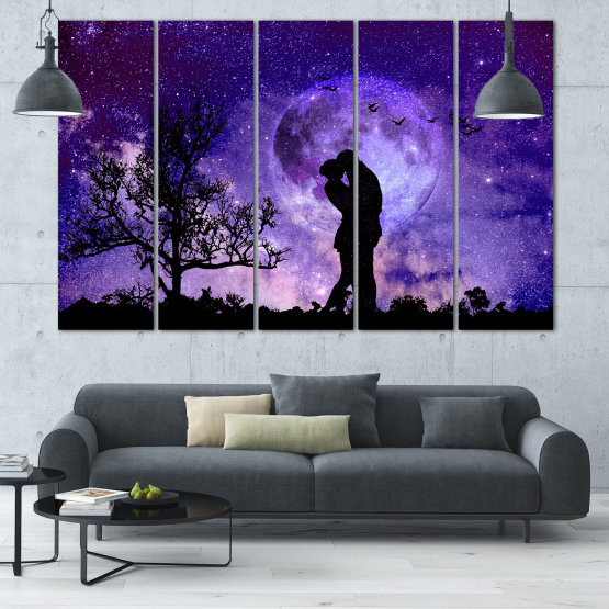 Canvas prints & wall decorative panels - 5 pieces №0864 » Purple, Blue, Black, Gray, Dark grey » Art, Space, Moon, Night, Light, Planet, Color, World, Fantasy, Energy, Stars, Magic, Cosmos, Planets Form #2