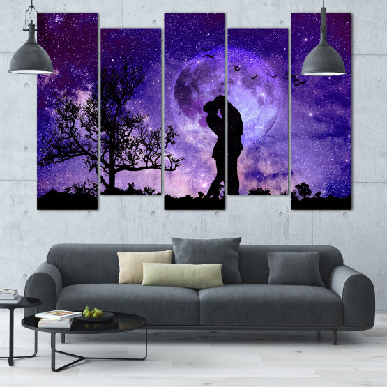Canvas prints & wall decorative panels - 5 pieces №0864 » Purple, Blue, Black, Gray, Dark grey » Art, Space, Moon, Night, Light, Planet, Color, World, Fantasy, Energy, Stars, Magic, Cosmos, Planets Form #3