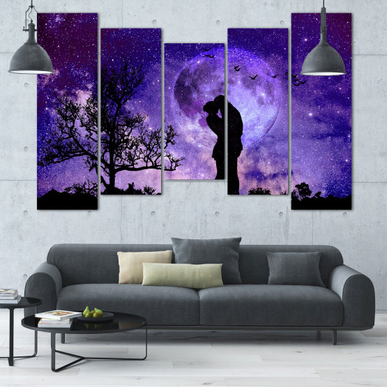 Canvas prints & wall decorative panels - 5 pieces №0864 » Purple, Blue, Black, Gray, Dark grey » Art, Space, Moon, Night, Light, Planet, Color, World, Fantasy, Energy, Stars, Magic, Cosmos, Planets Form #4