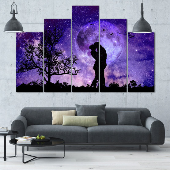 Canvas prints & wall decorative panels - 5 pieces №0864 » Purple, Blue, Black, Gray, Dark grey » Art, Space, Moon, Night, Light, Planet, Color, World, Fantasy, Energy, Stars, Magic, Cosmos, Planets Form #5