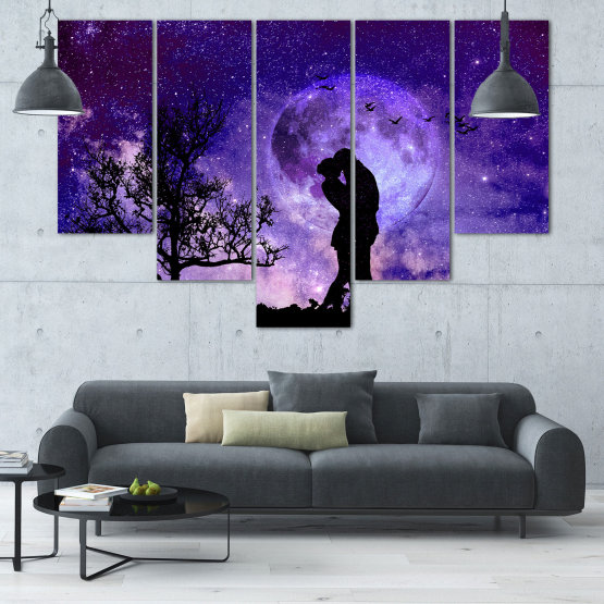 Canvas prints & wall decorative panels - 5 pieces №0864 » Purple, Blue, Black, Gray, Dark grey » Art, Space, Moon, Night, Light, Planet, Color, World, Fantasy, Energy, Stars, Magic, Cosmos, Planets Form #6