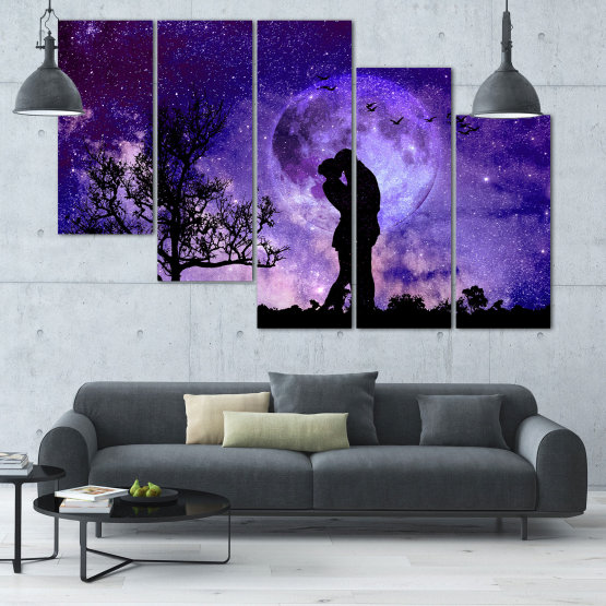 Canvas prints & wall decorative panels - 5 pieces №0864 » Purple, Blue, Black, Gray, Dark grey » Art, Space, Moon, Night, Light, Planet, Color, World, Fantasy, Energy, Stars, Magic, Cosmos, Planets Form #7