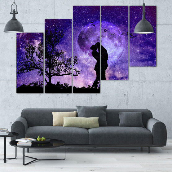 Canvas prints & wall decorative panels - 5 pieces №0864 » Purple, Blue, Black, Gray, Dark grey » Art, Space, Moon, Night, Light, Planet, Color, World, Fantasy, Energy, Stars, Magic, Cosmos, Planets Form #8