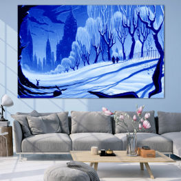 Drawing, Art, Snow, Winter, Ice, Silhouette, Season, Snowy, Outdoor, Cold » Blue, Turquoise, Black, Gray