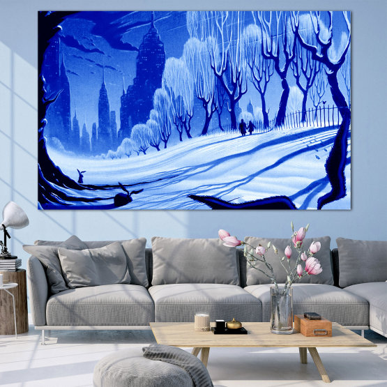 Canvas prints & wall decorative panels - 1 piece №0865 » Blue, Turquoise, Black, Gray » Drawing, Art, Snow, Winter, Ice, Silhouette, Season, Snowy, Outdoor, Cold Form #1