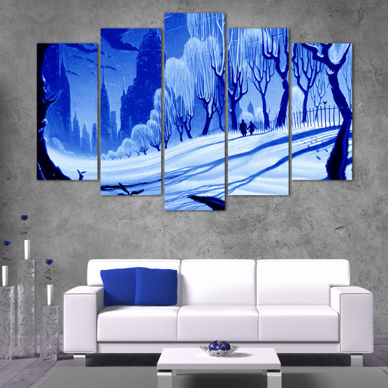 Εκτύπωση σε καμβά και διακοσμητικά πάνελ τοίχου - 5 τεμάχια №0865 » Μπλε, Τουρκουάζ, Μαύρος, Γκρί » Σχέδιο, Τέχνη, Χιόνι, Χειμώνας, Πάγος, Σιλουέτα, Εποχή, Χιονώδης, Εξωτερικου χωρου, Κρύο Form #1